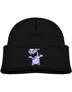 Kids Knitted Beanies Hat Hippo Winter Hat Knitted Skull Cap for Boys Girls Black