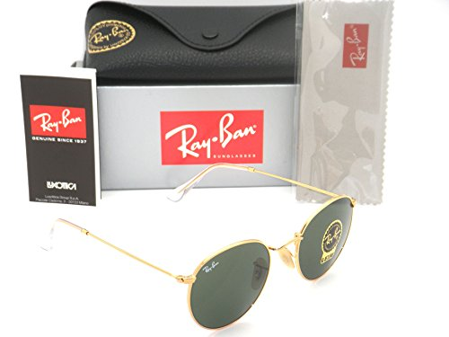 Authentic Ray-Ban RB 3447 001 50mm Round Metal Gold Frame Green - Rb Metal Round