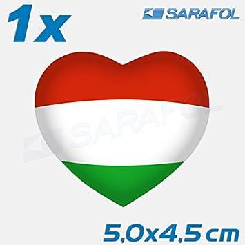 Sarafol 1x Ungarn Herz Aufkleber Nr049 Magyarország Szív Heart Car Auto Sticker 50x45 Cm