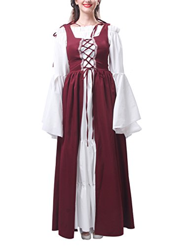 ROLECOS Womens Renaissance Medieval Irish Costume Boho Underdress Overdress Coat Wine Red XL