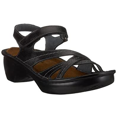 Naot Women's Paris Wedge Sandal, Black Madras Leather, 35 M EU / 4 B(M) US