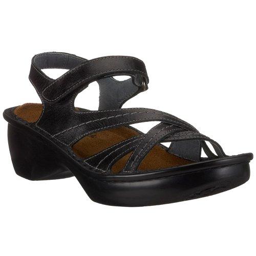 Naot Women's Paris Wedge Sandal, Black Madras Leather, 37 EU/6-6.5 M (Black Madras)