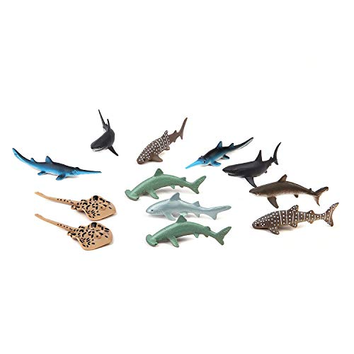 Fun Central AU195 12 Pieces 3 inch Shark Toys for Boys, Plastic Shark Figures, Mini Shark Toy, Hammerhead Shark for Kids