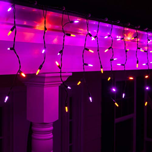 Wintergreen Lighting Halloween Mini LED Icicle Lights on Halloween Hanging Lights LED, Purple and Orange Lights on Black Wire, Fun House Halloween Decorations (70 Icicle Lights)]()