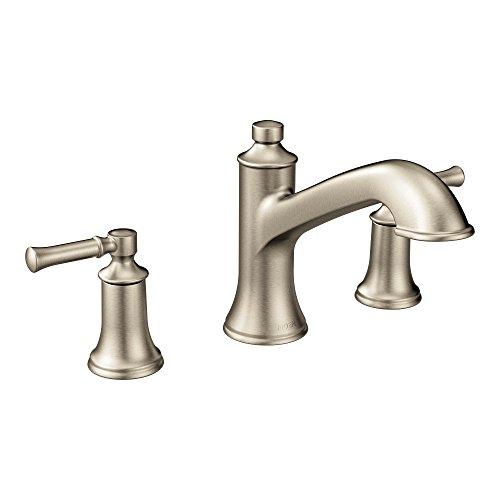 - Moen T683BN Dartmoor Two-Handle High Arc Roman Tub Faucet, Brushed Nickel