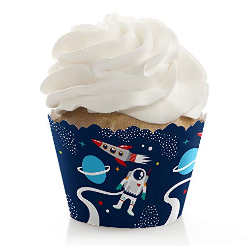 Blast Off to Outer Space - Rocket Ship Baby Shower or Birthday Party Decorations - Party Cupcake Wrappers - Set of 12