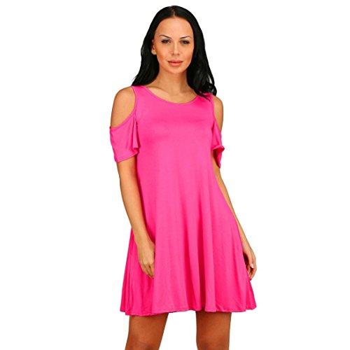 Rcool Mujeres Atractivas Del Verano Redondo-Cuello Del Hombro De La Camiseta De Manga Corta Ocasional Del Estiramiento De La Camiseta Sólida Tops Rosa caliente