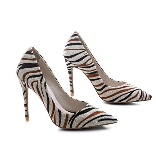 Zèbre BEIGE Pompes EUR37UK455 Fête Taille Haute NVXIE Talon Femmes Modèle Chaussures Intelligent Travail Tribunal Pointu qBwH8S
