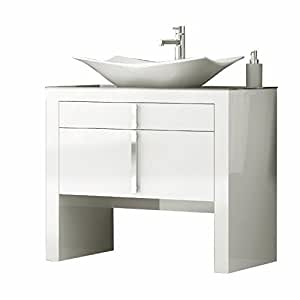 Daytona 40 inch wide bathroom vanity cabinet set white for Bathroom cabinets 25cm wide