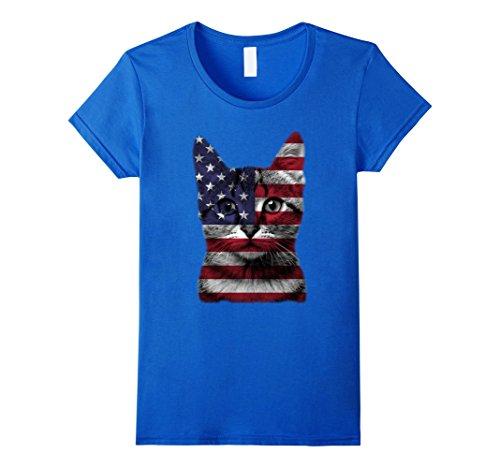 Womens Funny Patriotic USA American Cat Flag Shirt Fourth of July XL Royal - American Flag Cat