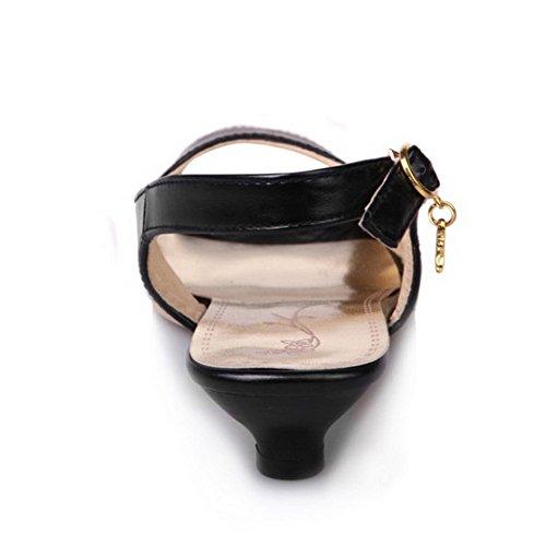 TAOFFEN Mujer Moda Elegante Peep Toe Talon Abierto Sandalias Mini Tacon Flores Bordadas con Hebilla Negro