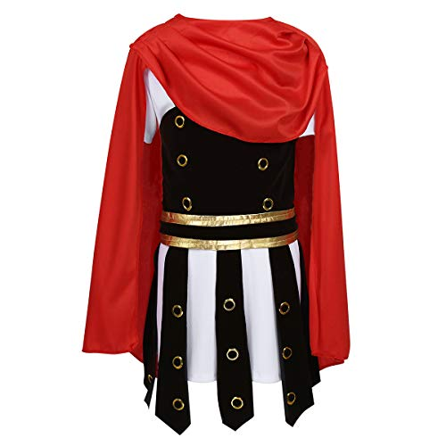 YONGHS Kids Boys Roman Mighty Warrior Costume Halloween Cosplay Outfits Short Sleeves Tunic with Armour Cape Set Red&White 1 7-9 (Centurion Clock)