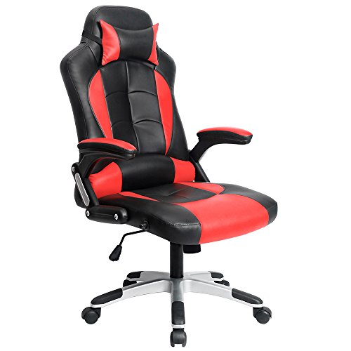 Homall Computer Desk Chair Executive Swivel Leather Office Chair, Racing Style Task Chair High-back Gaming Chair (Red)