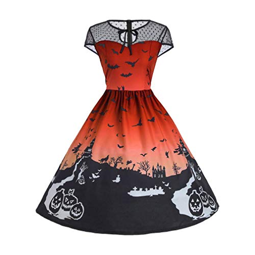 DEATU Ladies Halloween Dress, Teen Girls Womens Pumpkin Patchwork Printed Vintage Gown Party Swing Dress(A-Orange,S)