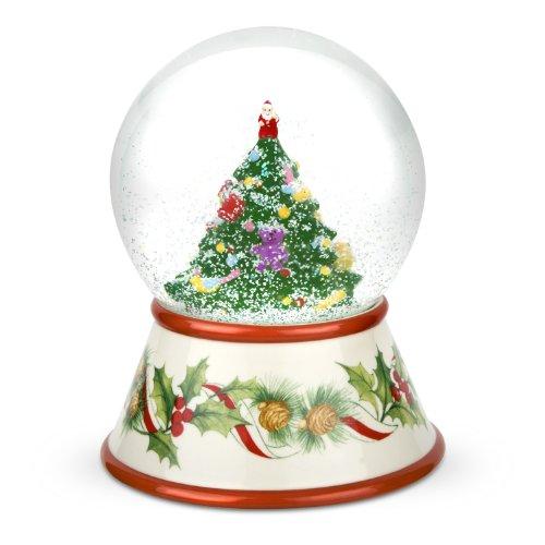 amazoncom spode christmas tree 2010 musical snow globe christmas snow globes glass kitchen dining
