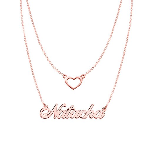 Ouslier 925 Sterling Silver Personalized Double Chain Name Necklace with Heart Pendant Custom Made with One Name (Rose (Custom Made Gold Chains)