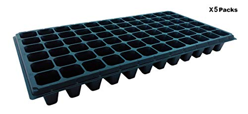 Hongville Propagation Kit Plant Growing Seedling Starter Mini Greenhouse 72 Cell Insert Tray, for Seedlings, Indoor Gardening, Growing Microgreens, Wheatgrass & More (5-Pack)