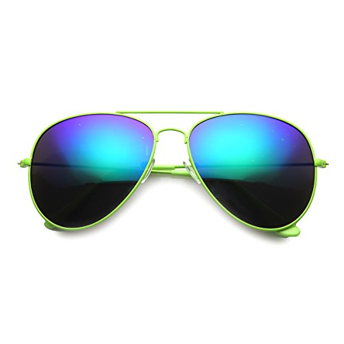 zeroUV - Classic Teardrop Color Coated Frame Flash Mirror Lens Metal Aviator Sunglasses 58mm (Green / - Mirror Coated Sunglasses