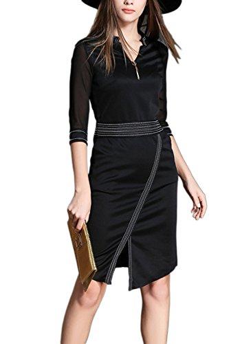 Elegante 3/4 Ärmel Gürtel Party Kleid für Damen Black bDV4D9u ...
