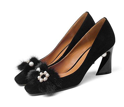 5 3 uk Black Eur 36 Trabajo Soltero Negro Fiesta Negocio Fornido Zapatos Talones Mujer Tacón Alto Carrera Nvxie 4 Áspero eur35uk3 Ponerse aRTqUU