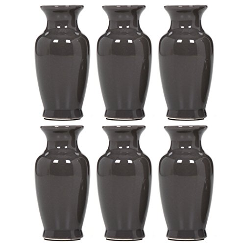 Hosley 3.75 High Gray Mini Bud Vases. Set of 6, Value Pack. Ideal Gift for Weddings, Special Occasions, Parties, Events, Aromatherapy Reiki, Spa, Meditation Settings O9