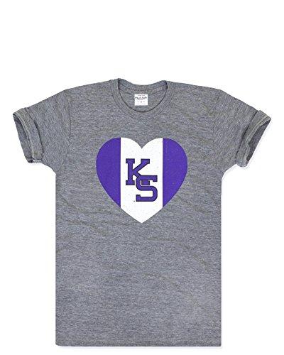 - Charlie Hustle Unisex Collegiate Kansas State Heart T-Shirt XL Grey