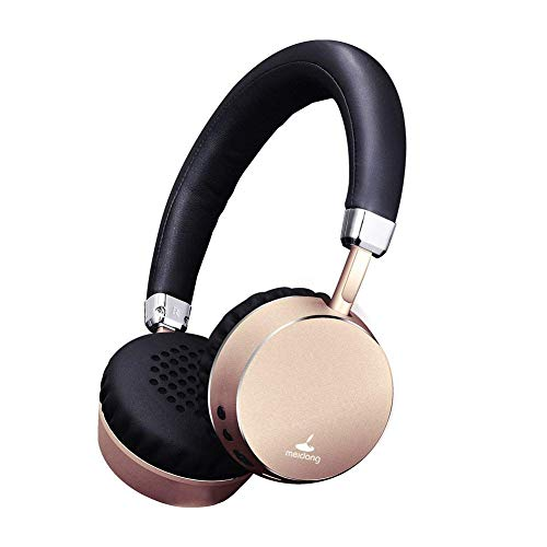 Meidong E6 Wireless Bluetooth Headphones on Ear with Mic Portable Lightweight 8hs Playing Time Headphone for Smartphone Tablet Men Kids Girls (Gold) (Rosegold)