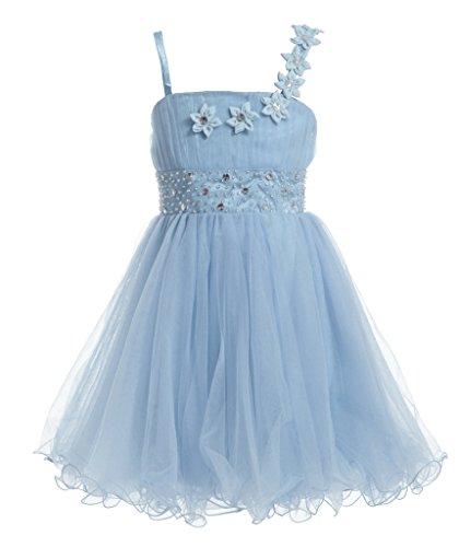 [Fairy Couple Girl's Spaghetti Strap Sequins Beaded Short Flower Girl Dress K0147 10 Baby Blue] (Fairy Dress For Kids)