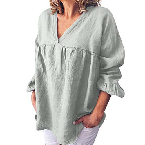 XVSSAA Ladies Summer Stylish Cotton-Linen T-Shirt, Women's Pure-Color V-Neck Loose Casual Blouse Tops Gray