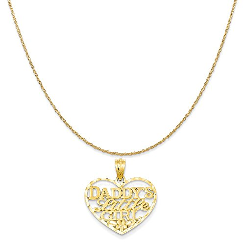 14k Yellow Gold Daddys Little Girl Heart Pendant on 14K Yellow Gold Rope Chain Necklace, 16
