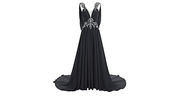56a6587b3a7 MariRobe Women s Greek Style Rhinestone Beaded Wedding Dresses Backless  Evening Dress Prom Dress Fromal Gown US2 Black  Amazon.ca  Clothing    Accessories