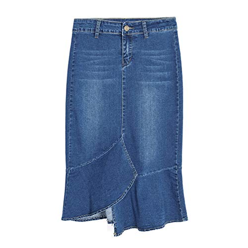 Blue 2 Denim Skirt - QZUnique Women High-Waist Denim Midi Skirt Irregular Fishtail Jean Skirt Denim Blue US 18