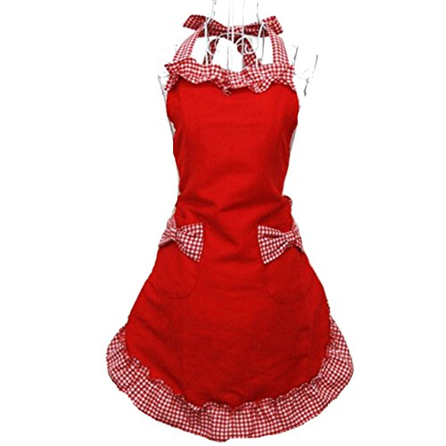 - Hyzrz Cute Fashion Cotton Flirty Red Aprons for Women Girls Vintage Cooking Retro Apron with Pockets for