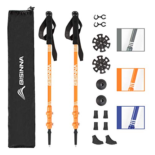 BISINNA Hiking Trekking Poles-2 Pack Adjustable Ultra Strong & Lightweight Aluminum 7075 Collapsible Hiking/Walking Sticks with EVA Grips, Quick Locks, 4 Season/All Terrain Accessories and Carry Bag ()