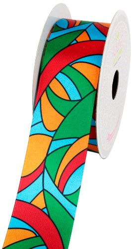 LUV RIBBONS Satin Groovy Retro Print Ribbon, 1-1/2-Inch, Red/Green -