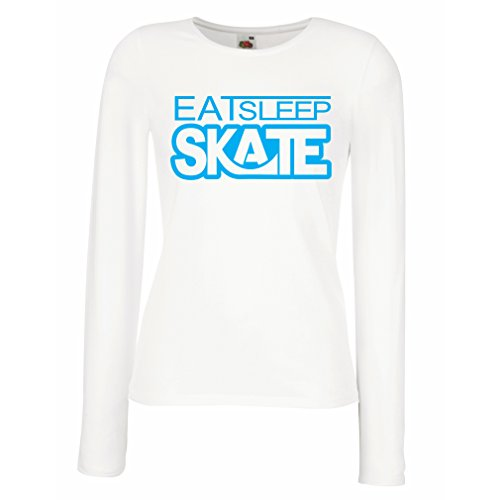 T Shirt Women Eat Sleep Skate - for Skaters, Skate Longboard, Skateboard Gifts (XX-Large White Blue)