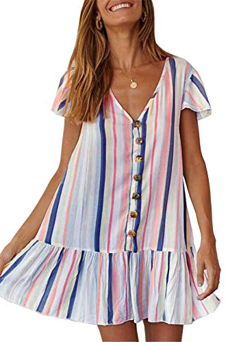 (PRETTYGARDEN Women's Summer Casual Dress Short Sleeves V Neck Colorful Striped Loose Fit Ruffle Mini Dress (Blue, Medium))