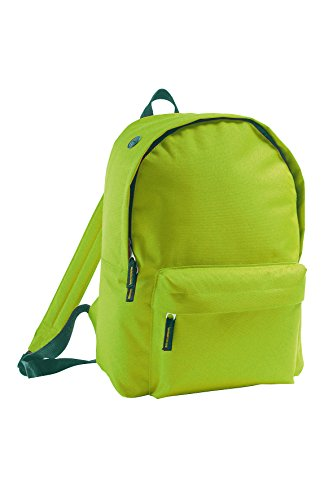 Mochila Básica de viaje Bolsa de viaje día y aire libre en negro verde manzana
