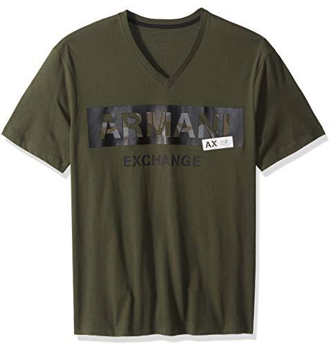 A|X Armani Exchange Men's Short Sleeve Logo V Neck Tshirt, Climbing Ivy, S - Green T-shirts Mens Armani
