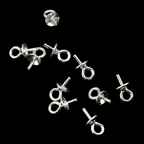 ZAMTAC 10 Piece Sterling Silver 925 Pendant Clasp Pearl Bail Eye Pins Connector 3mm Jewelry Making Connector for - Sterling Pearl Clasp Silver