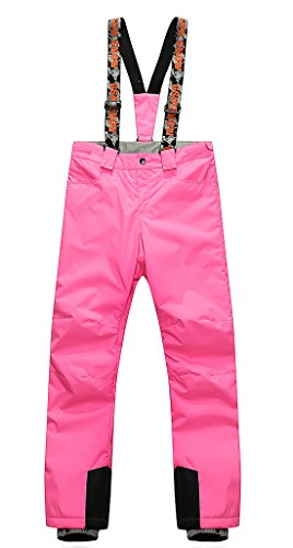 APTRO Women's Ski Pants With Suspender Windproof Waterproof Snow Pants Pink Size L