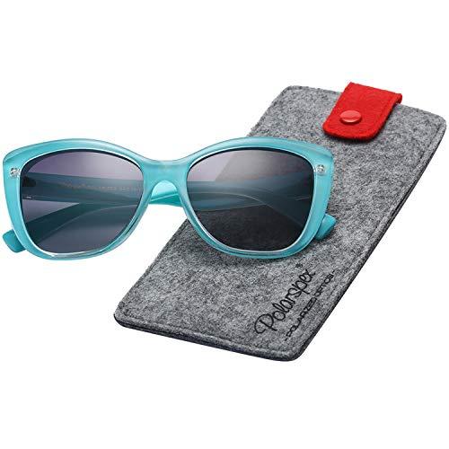 Polarspex Polarized Women's Oversized Square Jackie O Cat Eye Fashion Sunglasses (Turquoise Teal | Polarized Gradient Smoke, Smoke)