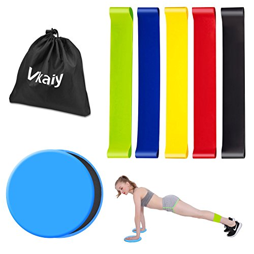 Vkaiy Resistance Bands and Core Sliders, 2pcs Gliding Discs and 5pcs Elastic Exercise Loops For Stretching Physical Therapy, Abdominal Exercise Equipment, Fitness, Stretch, Yoga, Pilates Review