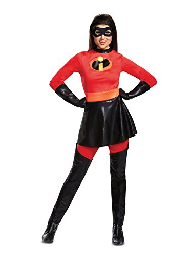 Disguise Women's Mrs. Incredible Skirted Deluxe Adult Costume, red, S (4-6)