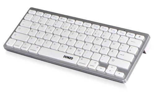 DONZO® BTK-01MAC-W UNIVERSAL BT Bluetooth Tastatur QWERTZ Layout (deutsche Tastatur/Tastenbelegung) geeignet für Smartphone | Smart TV | Laptop / PC | fast alle Geräte und Handys - weiß