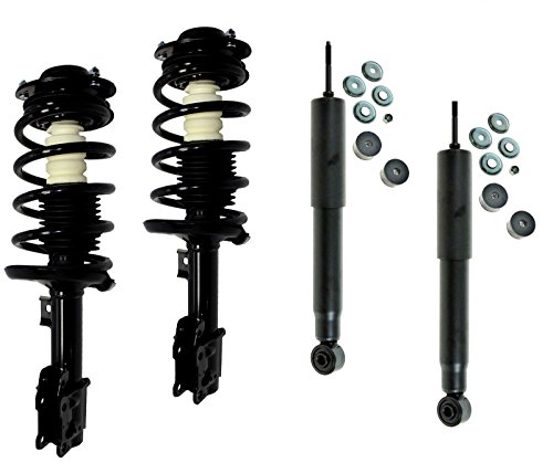 Detroit Axle - Both (2) New Front Driver & Passenger Side Complete Quick Strut & Spring Assembly Set + Both (2) Rear Shock Absorbers for Malibu G6 Aura