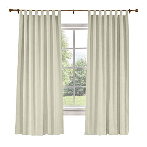 "ChadMade 50""W x 63"" L Polyster Linen Drapes with Blackout Lining Tab Top Curtain for Sliding Door Patio Door Living Room Bedroom, (1 Panel) Sand Beige"