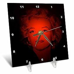 3dRose RinaPiro - Marilyn Monroe - Marilyn Monroe. Legendary screen actress and model. Black and red. - 6x6 Desk Clock (dc_261331_1)