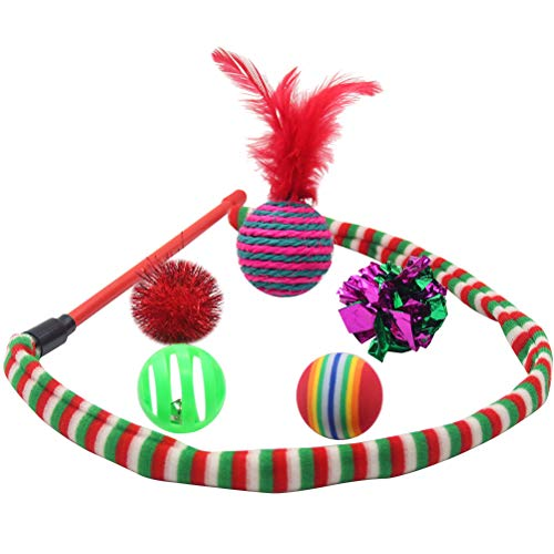 SCIROKKO Christmas Cat Toys Stocking Set for Cats, Includes Jingle Toy,Mice Ball,Catnip Fish,Feather Ball,Mylar Crinkle Ball,Cat Teaser Wand & More Cute Kitty Toys 5