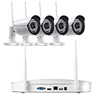 Titathink TT900WK-W 4CH Security Camera System, WiFi NVR kit, With 1T HDD, 4pcs 720P HD wireless IP66 cameras, 20M Night Vision, iOS/Android APP for remote viewing